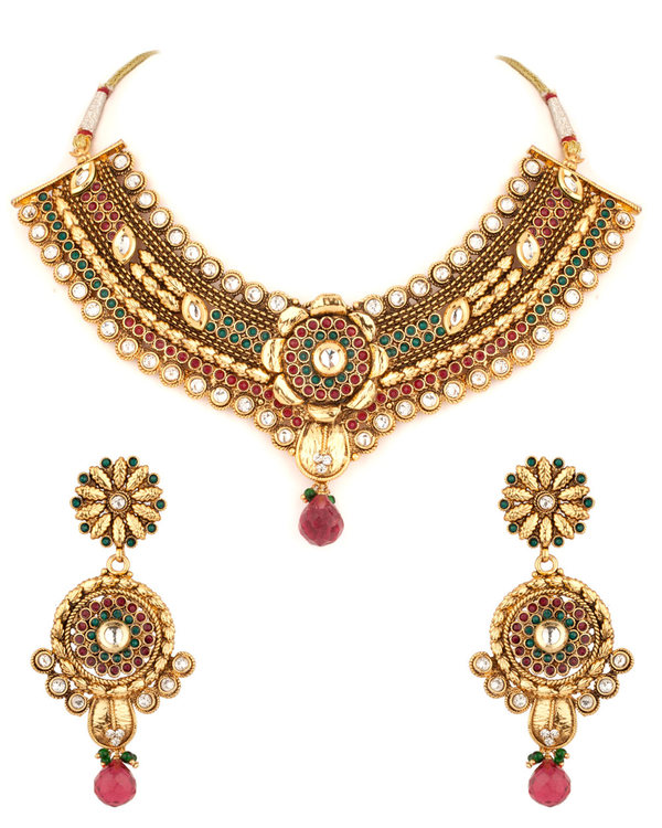 Alluring Green Red Necklace Set at Rs.2950