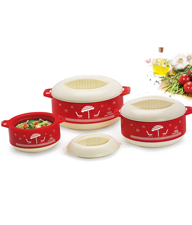 Set of 3 Priya Passion Red Casserole at Rs.329