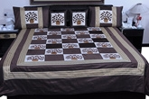 Brown Silk double Bed Cover Set at Rs.3180