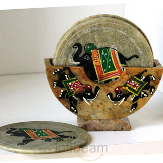 Hand-painted marble coaster set at Rs.329