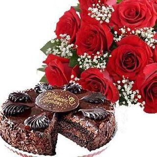 Flowers with Chocolate Cake at Rs.895