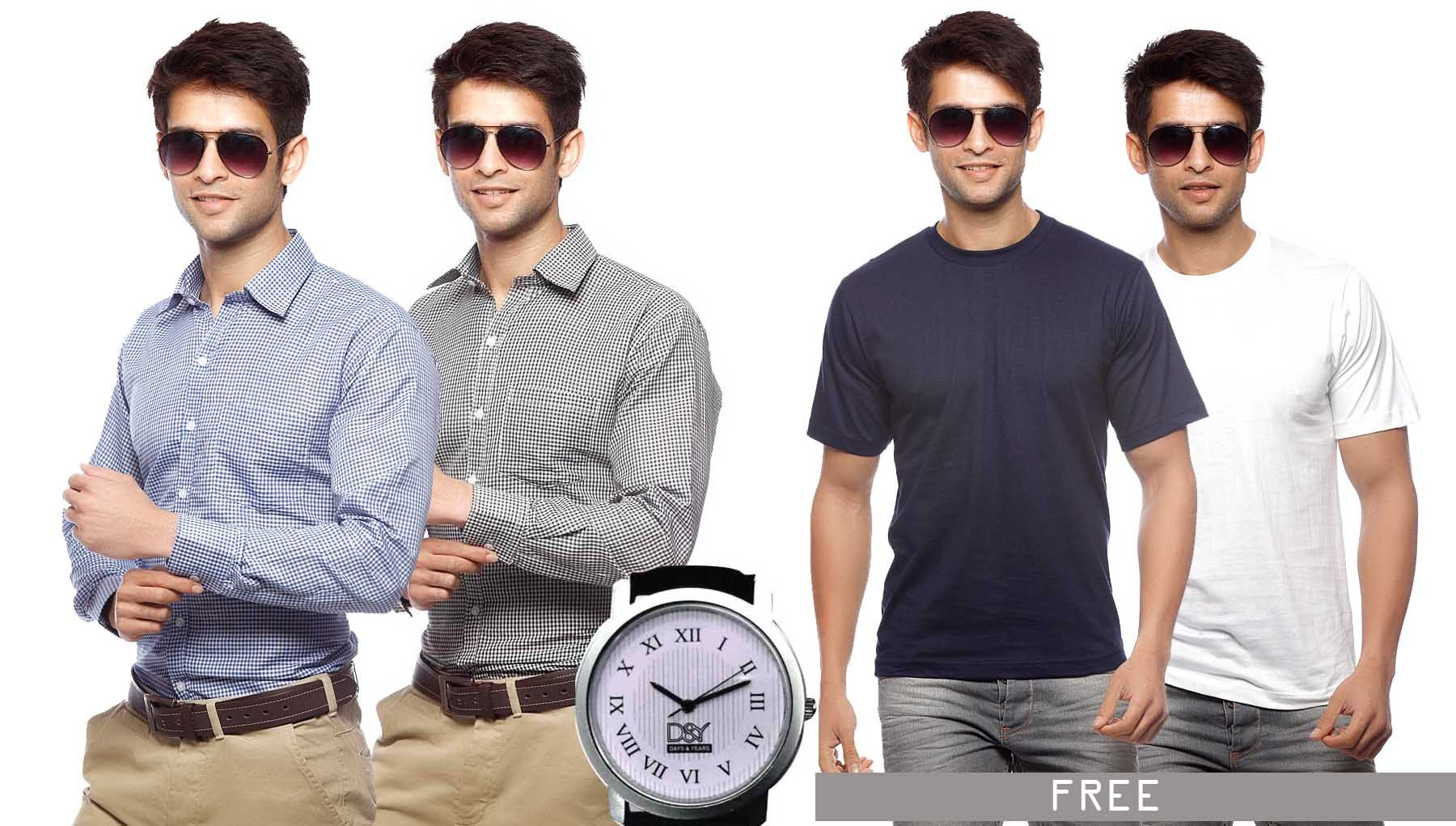 Pack of 2 Shirts & Watch at Rs.899