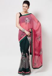 Georgette Pink Saree at Rs.3499
