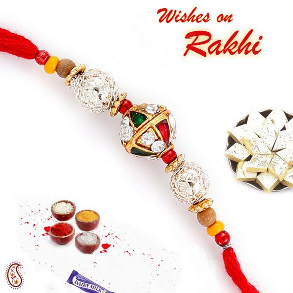 Wooden American Diamonds & Enamel Rakhi at Rs.251