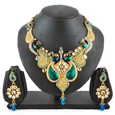 Adhira Peacock Necklace Set at Rs.1201