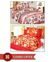 Combo of 2 Double Bed Sheet & 4 Pillow Covers at Rs.449