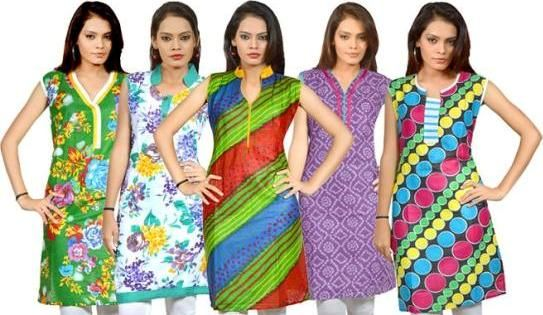 Set of 5 pcs Multi Color Cotton Kurtis at Rs.749