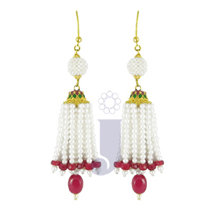 Jpearls Unmitigated Pearl &Ruby Gold Earrings at Rs.21000