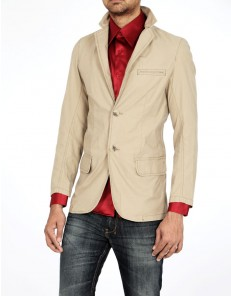 Basics Tan Plain Blazer at Rs.2479