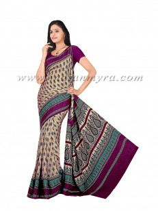 Beige & Purple Printed Saree at Rs.6099