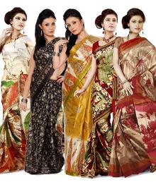 Combo of 5 pcs Silk Sarees at Rs.999