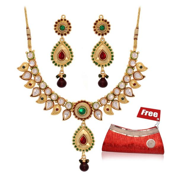 Fashion Jewellery & Red Clutch at Rs.599