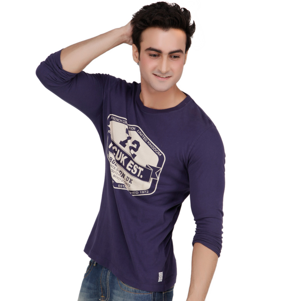 Fcuk Blue Half Sleeves Cotton Men's T-shirts at Rs.1199