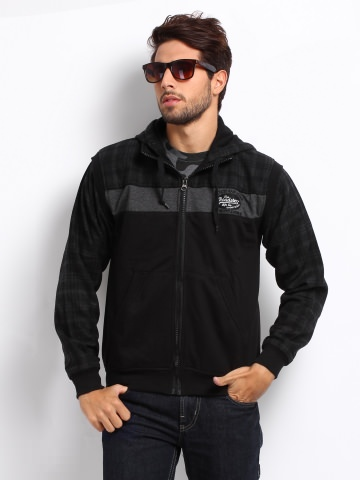 Roadster men black & grey fokker jacket at Rs.1359