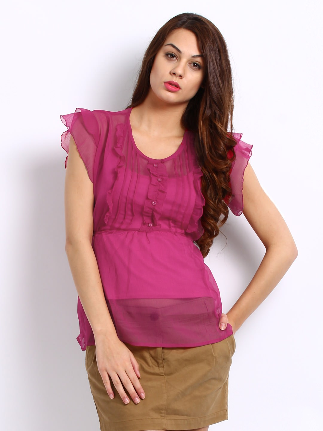 DressBerry women pink Ruffled Top at Rs.489