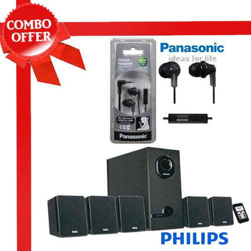 Phlips Dsp2600 Home Thearter + Panasonic Rp-Tcm120ek Earphone at Rs.2999
