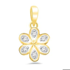Cute Floral Diamond Pendant in Gold by Sparkles at Rs.5290