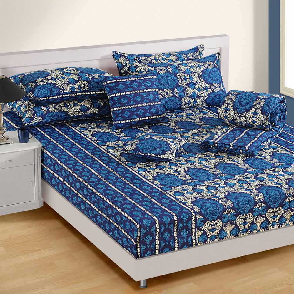Swayam blue cotton double bed sheet at Rs.896