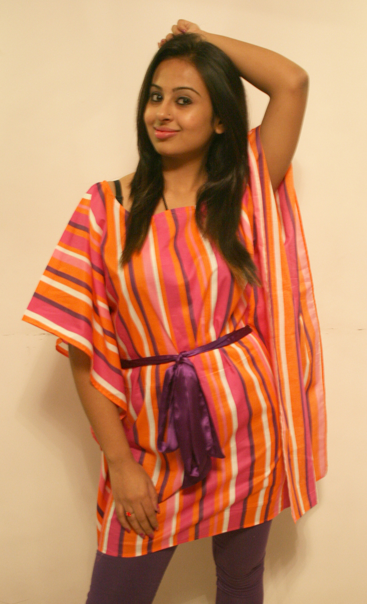 Magnetic designs pink and orange printed women kaftan at Rs.599