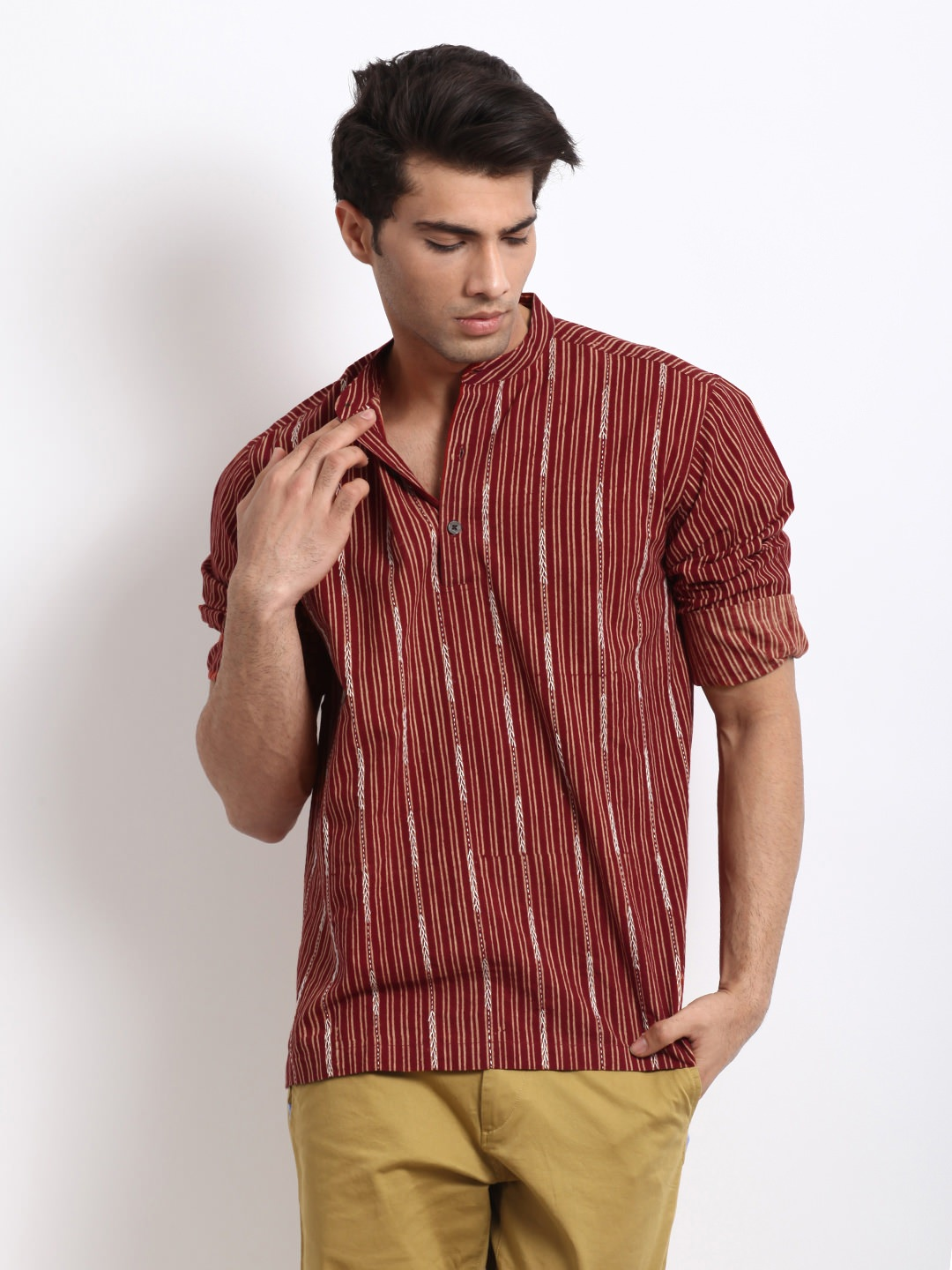 Buy Fabindia Men red ajrakh block printed kurta at Rs.891