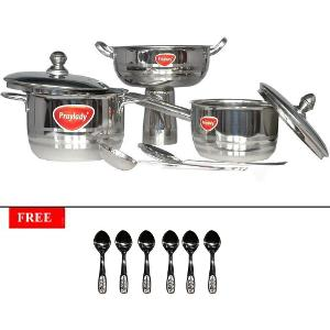 Buy Praylady Induction friendly 7 piece cooking set at Rs.1299