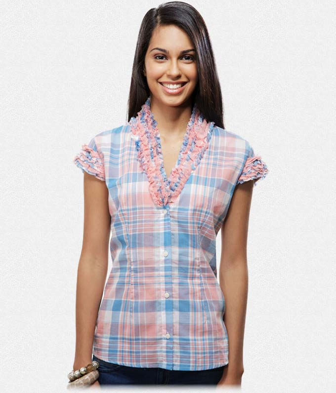 Buy Blue and peach cotton check cap sleeve shirt at Rs.539