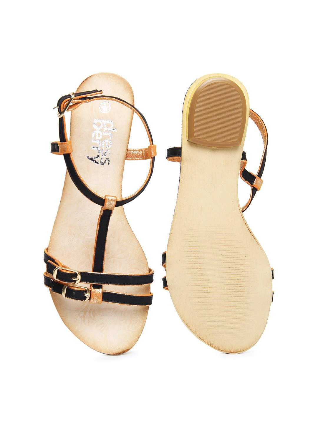 Buy DressBerry women Black & shimmery orange sandals at Rs.1119