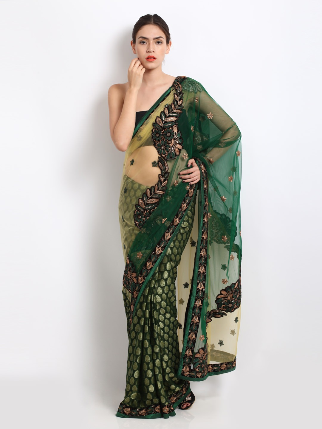 Buy Dori green & gold Jacquard net fashion saree at Rs.3420