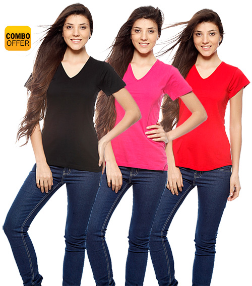 Buy Vvoguish Women's Cotton T-Shirts (Pack of 3) at Rs.999