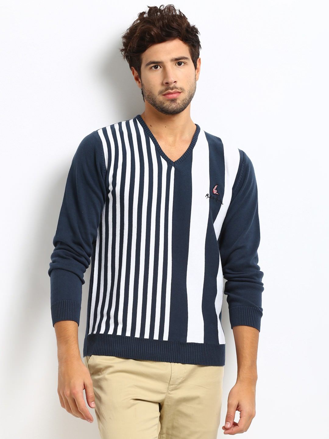 Buy Mast & Harbour Men White & Blue Striped Destiny Sweater at Rs.1199