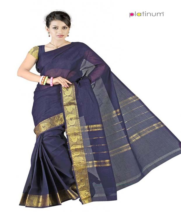 Buy Platinum Ethnic pure cotton bridal formal wear saree at Rs.1130