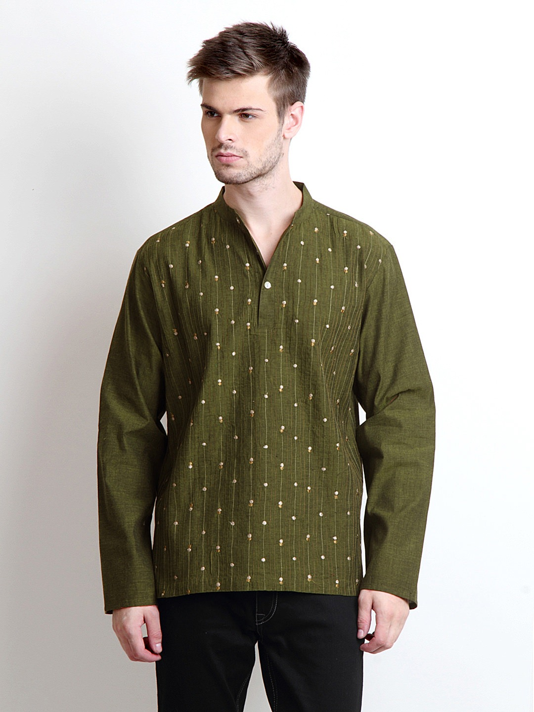 Buy Fabindia men Green pin Tuck short kurta at Rs.1224
