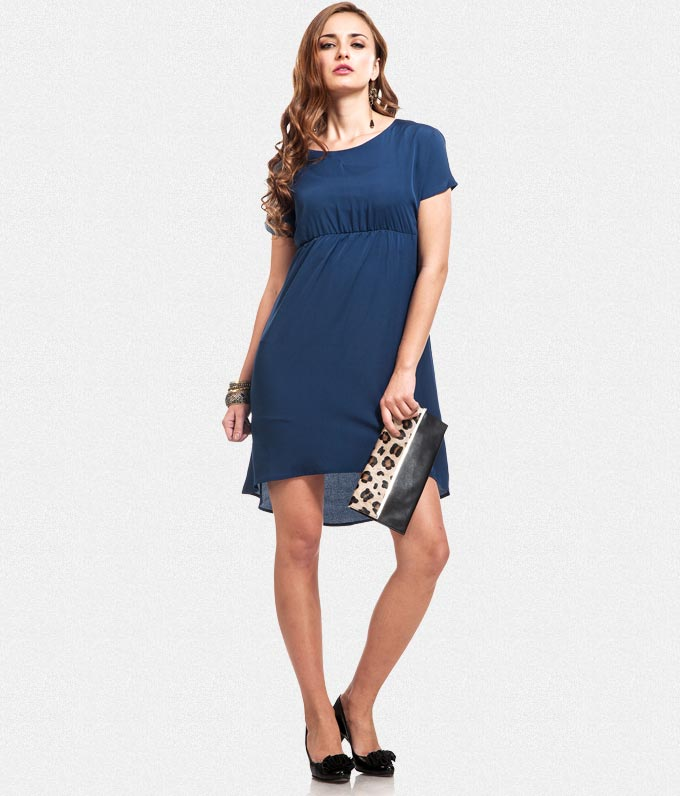 Buy blue asymmetric hemline Dress at Rs.809