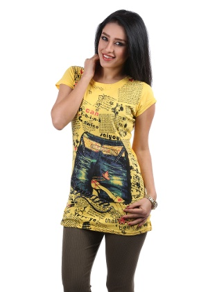 Buy Lavennder women's T-shirt  yellow at Rs.558