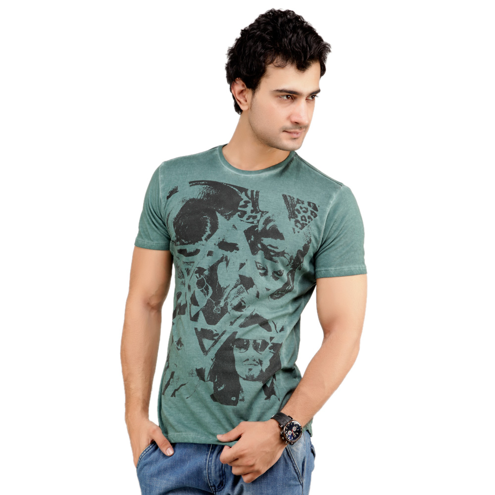 Buy Monteil & Munero Green Half Sleeves Cotton Men at Rs.448