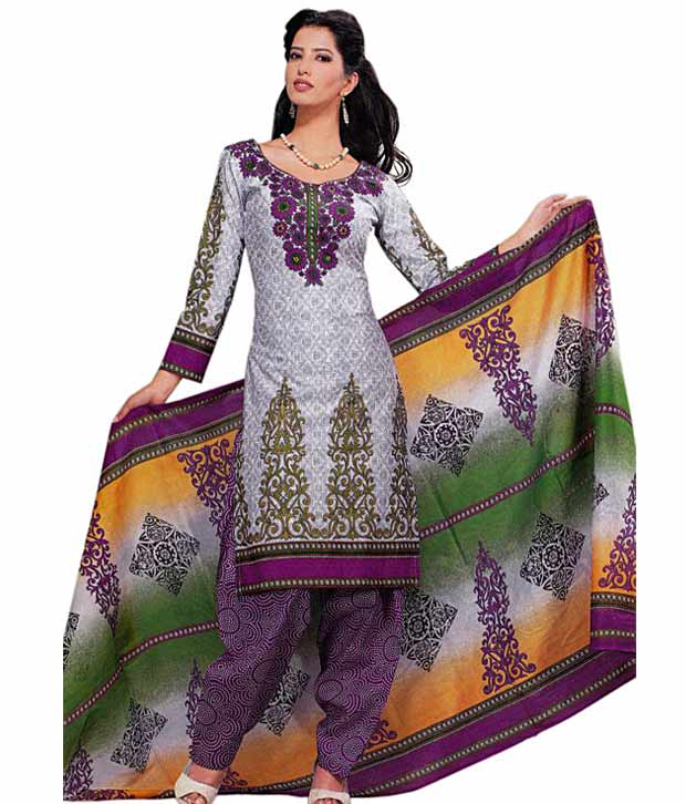 Buy Grey Cotton Printed Unstitched Suit Salwar With Dupatta at Rs.941