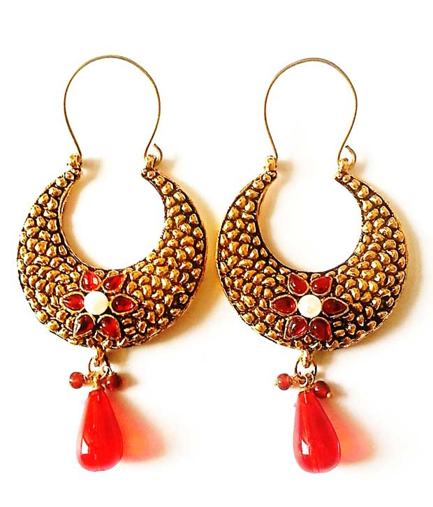 Buy Ethnic Jewels Red Floral Earrings at Rs.399