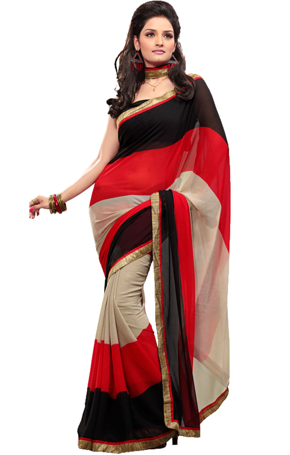 Buy Fabdeal Red Sarees at Rs.799