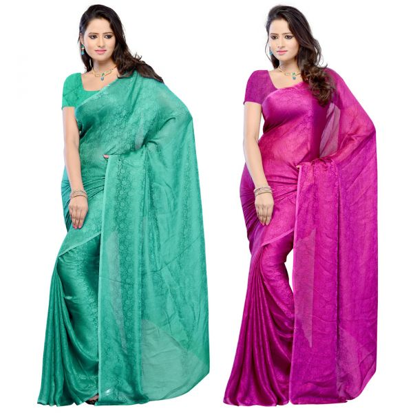 Combo of 2 Fabdeal Kota Silk Saree at Rs.1218