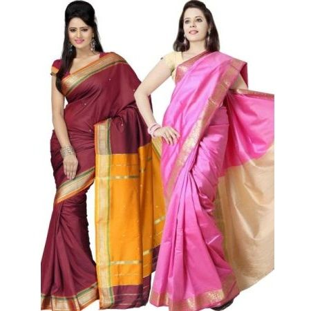 Set of 2 Kalazone Silk Sarees at Rs.999