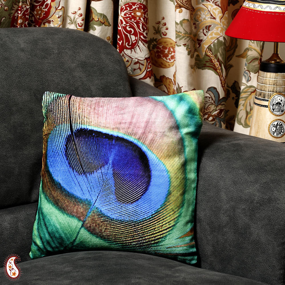 Buy Peacock Feather Velvet Cushion Cover at Rs.295