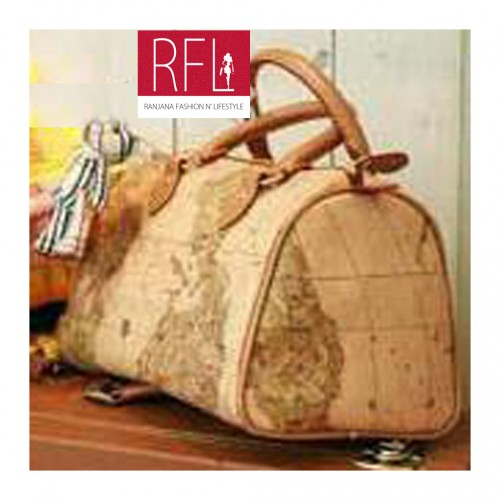 Buy Brick Glossy Leather Map Handbag at Rs.1999
