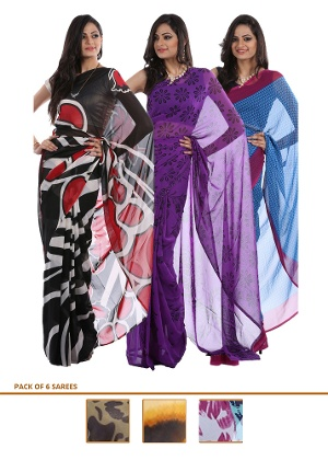 Set of 6 Shanaya Georgette Sarees at Rs.2398