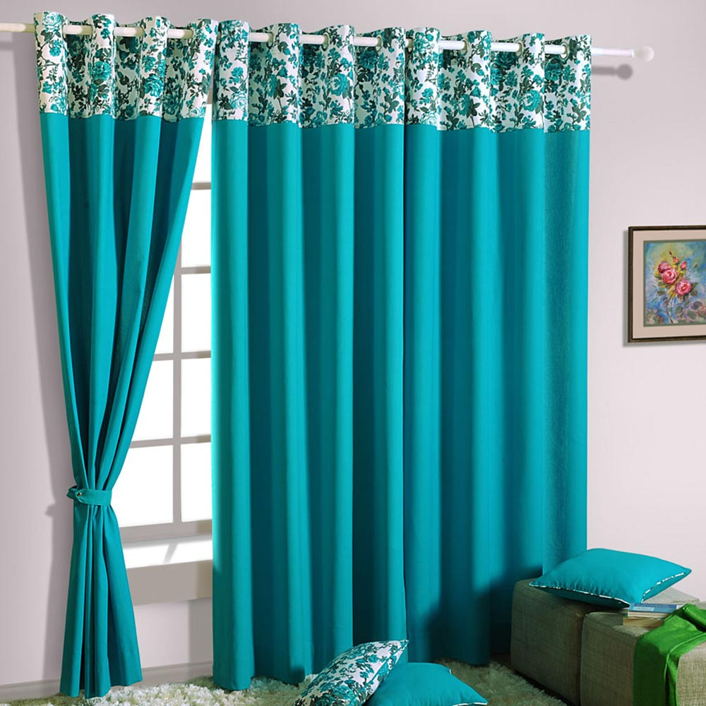 Blue Window Curtains Buy swayam blue cotton window