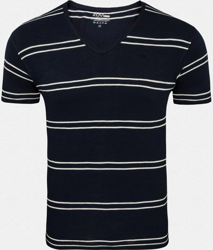 Navy Yarn Dyed V-neck T-shirt at Rs.149