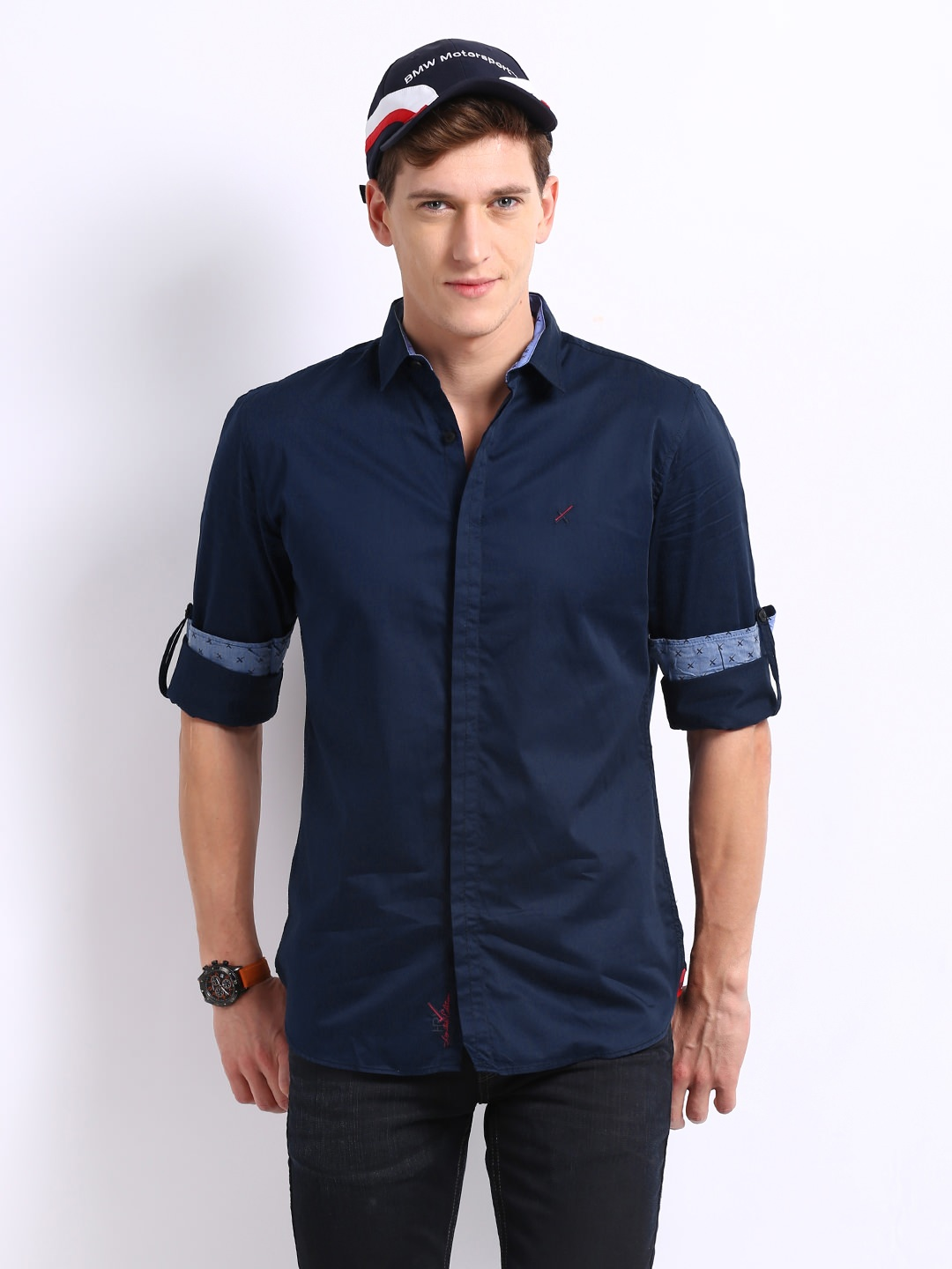 HRX Men Navy Casual Shirt at Rs.959