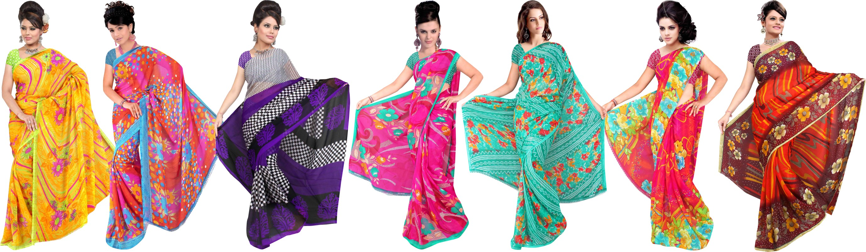 Itka 7 Georgette Sarees at Rs.1799