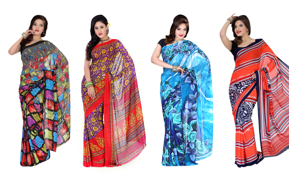 Set of 4 Chiffon Sarees at Rs.1699