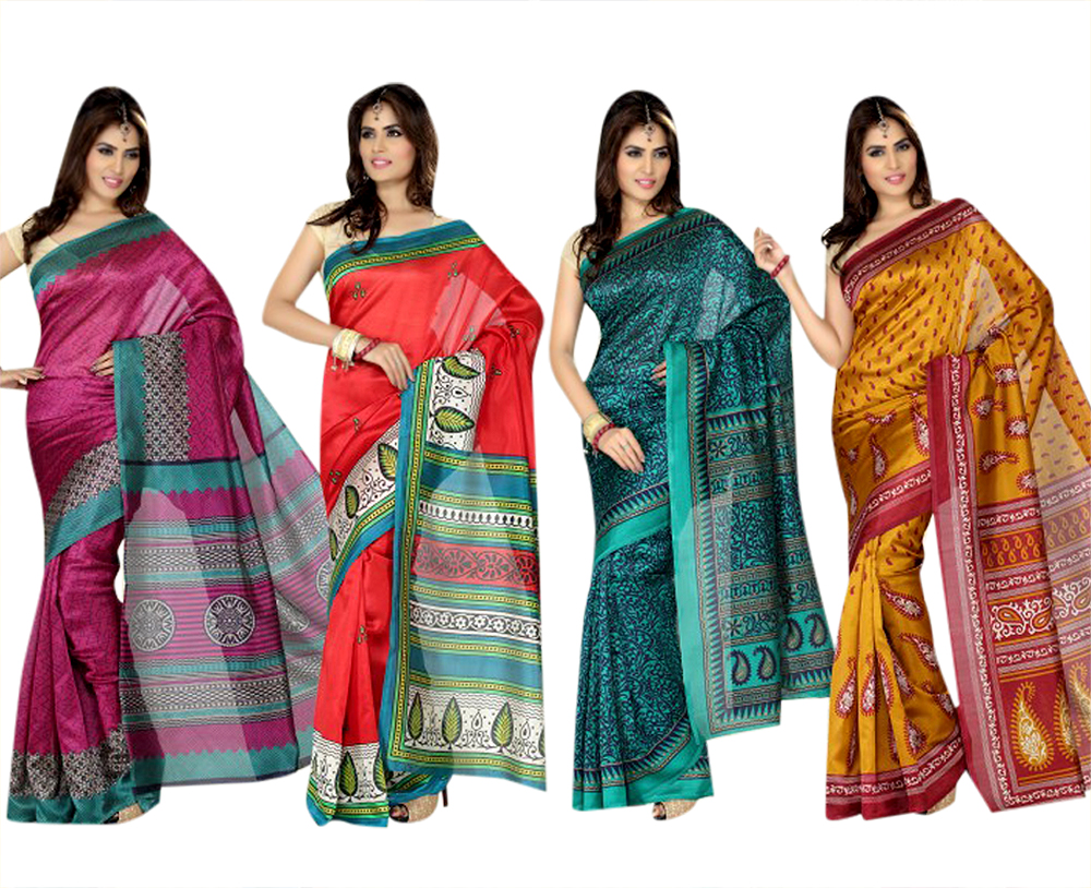 Set of 4 Mulberry Silk Sarees at Rs.1999