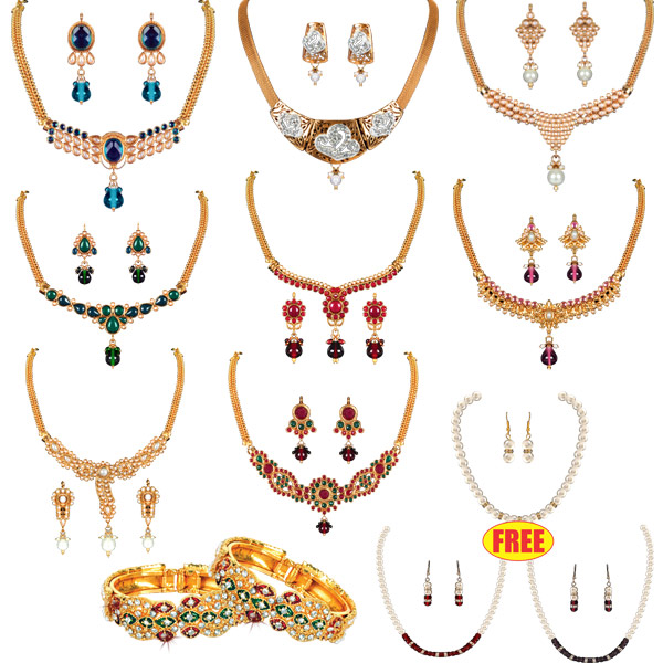 Colourful 1 Gram Gold Plated Jewellery at Rs.1999